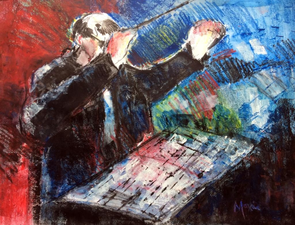 Jazz art, saxophone, conductor, orchestra