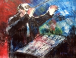 Jazz art, saxophone, conductor, orchestra