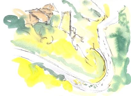 Winding hillside road