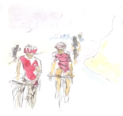 Climbing the Col de Menté in the fog
