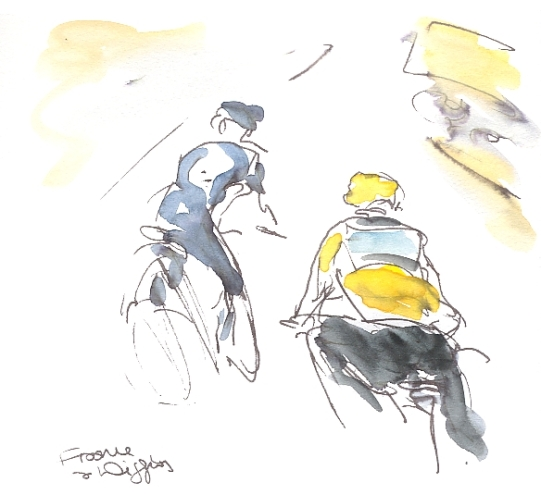 Cycling art, Tour de France 2012, Chris Froome, keeps Bradley going