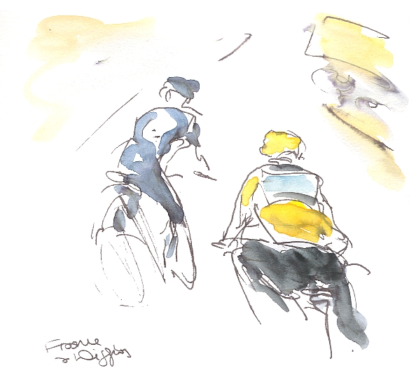 Cycling art, Tour de France 2012, Chris Froome, keeps Bradley going