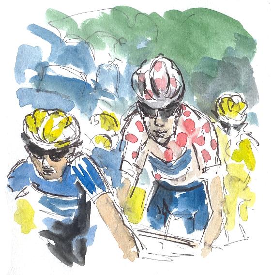 Cycling art, Tour de France, polka dot jersey
