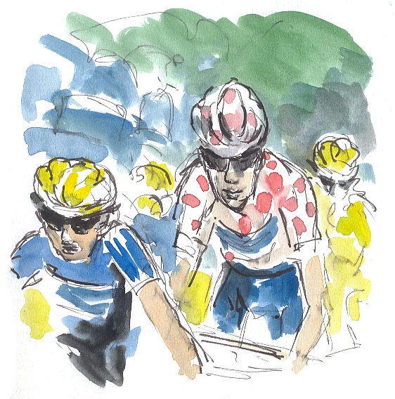 Cycling art, Tour de France, polka dot jersey