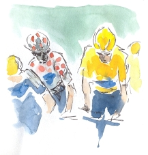 Yellow jersey waits,