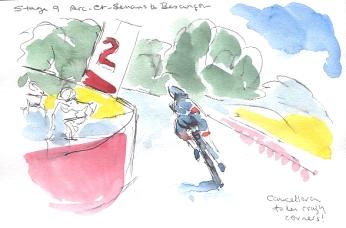 Cancellara takes crazy corners
