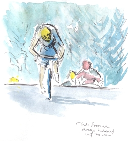 SOLD - Chris Froome drags himself for the win, by Maxine Dodd, SOLD