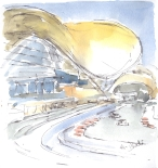 Golden light on the hotel