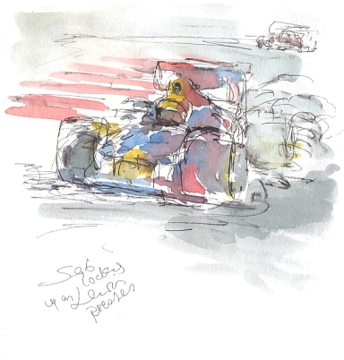 Seb locks a wheel as Lewis presses