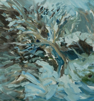 Snow banked up, (January 2013), Oil on board