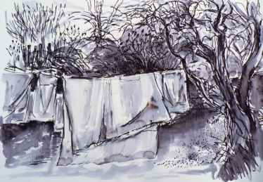 Washing on the line in January - felt-pen and water wash, life drawing, 12noon