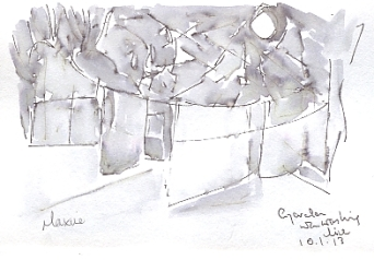 Washing on the line - small composition sketch