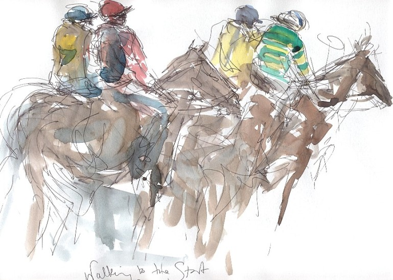 Maxine Dodd, 'Walking to the Start' - Racing at Aintree