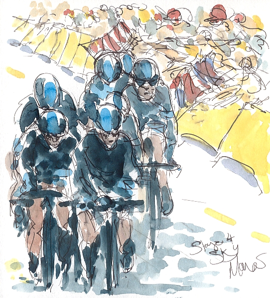Cycling art, tour de france, team sky