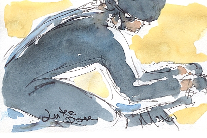 Luke Rowe on the road, by Maxine Dodd