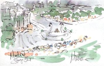 Round the fountain