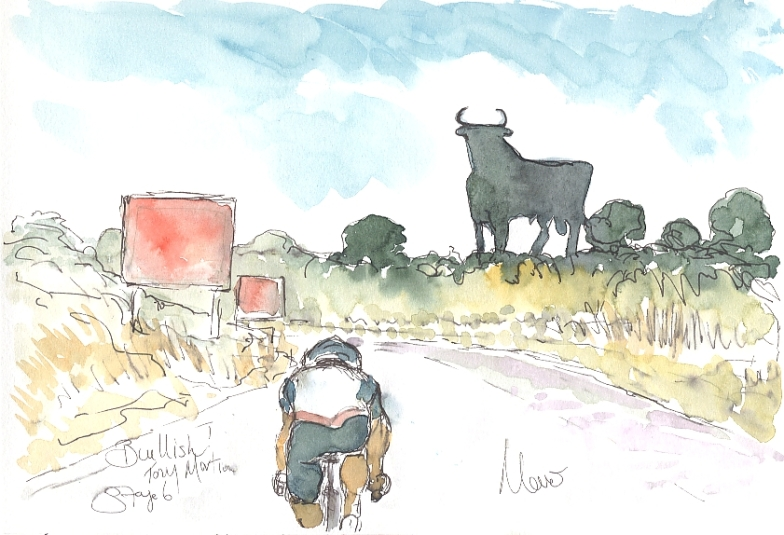 Bullish! Tony Martin, by Maxine Dodd, watercolour, pen and ink