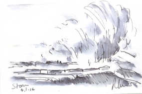 Storm wave - pen and ink wash