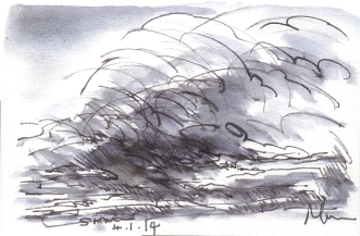 Wave - pen and ink wash