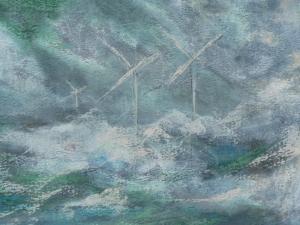 Windfarm at sea - pastel on paper