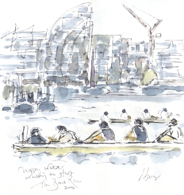 The 2014 Boat Race, waiting to start
