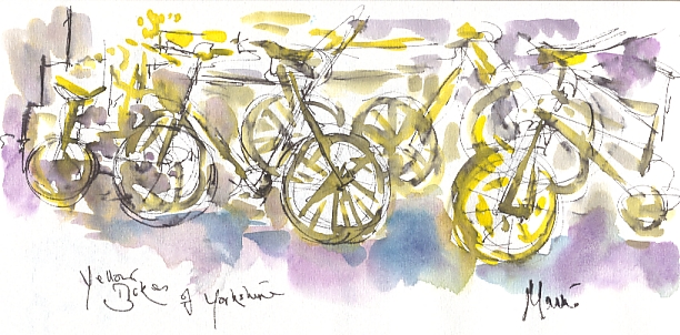 Cycling art, Tour de France, watercolour pen and ink painting, Yellow bikes of Yorkshire by Maxine Dodd