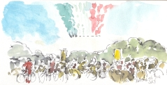 Cycling art, Tour de France, watercolour pen and ink painting, Arrows in the air by Maxine Dodd