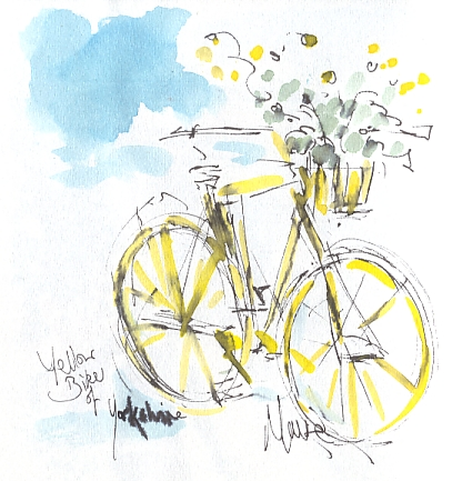 Cycling art, Tour de France, watercolour pen and ink painting, Yellow bike of Yorkshire by Maxine Dodd