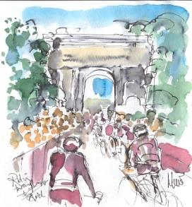 Riding through the arch