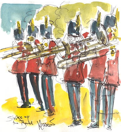 Cycling art, Tour de France, watercolour pen and ink painting, Strike up the band! by Maxine Dodd