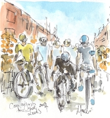 Cycling art, Tour de France, watercolour pen and ink painting, Cav adjusts his shoe, Leeds 2014 by Maxine Dodd