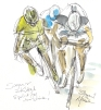 Cycling art, Tour de France, watercolour pen and ink painting, SOLD - Sagan and Kittel sprint for the line by Maxine Dodd