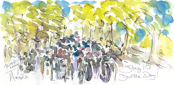 Cycling art, Tour de France, watercolour pen and ink painting, Stage 10 on Bastille Day by Maxine Dodd
