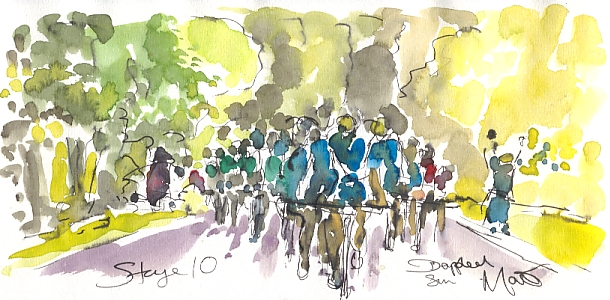 Cycling art, Tour de France, watercolour pen and ink painting, Dappled sun by Maxine Dodd