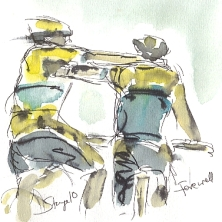 Cycling art, Tour de France, watercolour pen and ink painting, Farewell, by Maxine Dodd, RESERVED