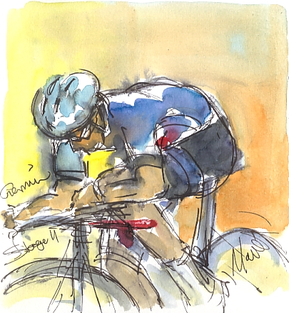 Cycling art, Tour de France, watercolour pen and ink painting, Garmin, Stage 11 by Maxine Dodd