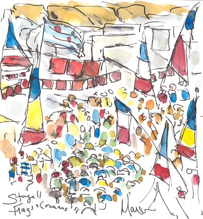 Cycling art, Tour de France, watercolour pen and ink painting, Flags and caravans by Maxine Dodd