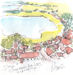 Cycling art, Tour de France, watercolour pen and ink painting, Clairvaux-les-Lacs by Maxine Dodd