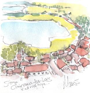 Cycling art, Tour de France, watercolour pen and ink painting, Clairvaux-les-Lacs by Maxine Dodd