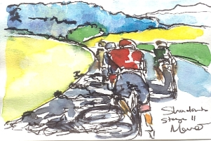 Cycling art, Tour de France, watercolour pen and ink painting, Shadows by Maxine Dodd
