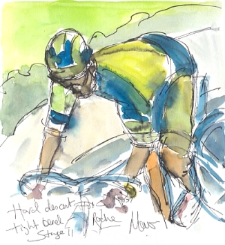 Cycling art, Tour de France, watercolour pen and ink painting, Hard descent, tight bends, Roche by Maxine Dodd