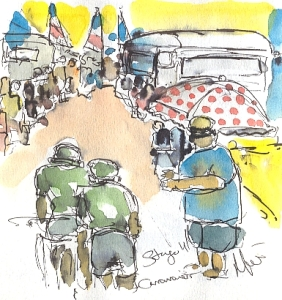 Cycling art, Tour de France, watercolour pen and ink painting, Caravaners by Maxine Dodd