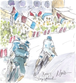 Cycling art, Tour de France, watercolour pen and ink painting, Breezy Bend! by Maxine Dodd