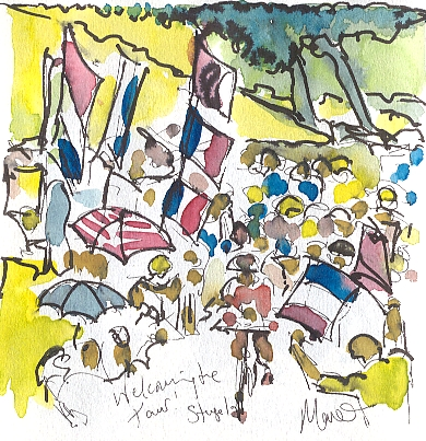 Cycling art, Tour de France, watercolour pen and ink painting, Welcoming the Tour by Maxine Dodd