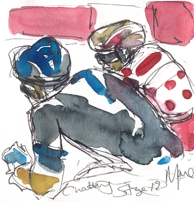 Cycling art, Tour de France, watercolour pen and ink painting, Chatting by Maxine Dodd