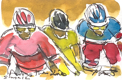 Cycling art, Tour de France, watercolour pen and ink painting, Across the line by Maxine Dodd