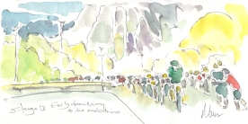 Cycling art, Tour de France, watercolour pen and ink painting, Early breakaway to the mountains by Maxine Dodd
