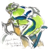 Cycling art, Tour de France, watercolour pen and ink painting, Head down for the descent by Maxine Dodd