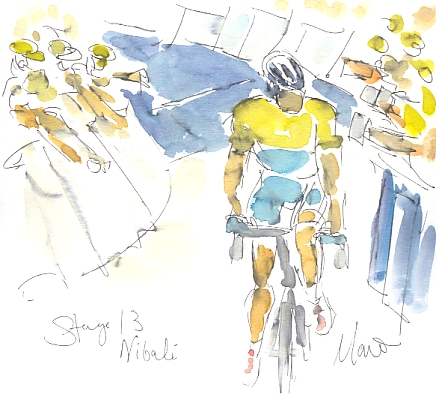 Cycling art, Tour de France, watercolour pen and ink painting, Nibali by Maxine Dodd