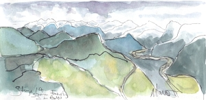 Cycling art, Tour de France, watercolour pen and ink painting, Storm brewing in the Alps by Maxine Dodd